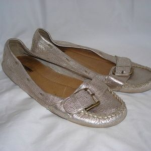 J CREW gold buckle flats size 11 pebbled leather